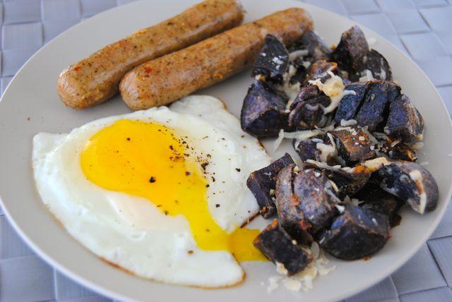 Egg, Sausages, & Cheesy Potatoes