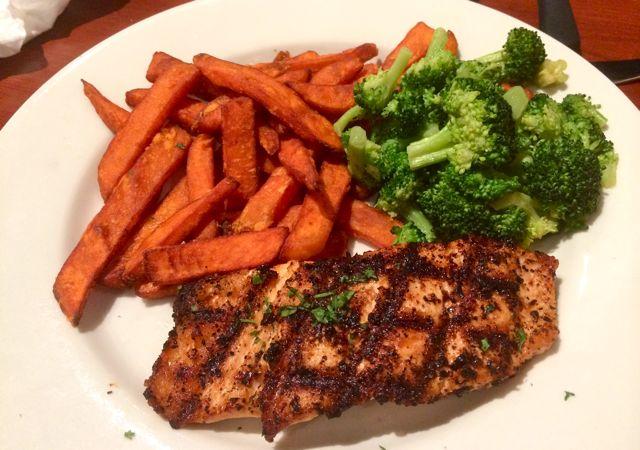 Salmon, Broccoli, & Sweet Potato Fries
