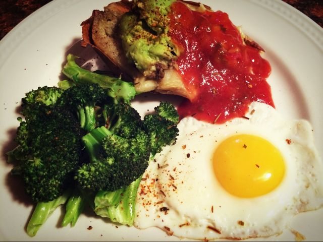 Avocado & Salsa topped Sweet Potato with Egg