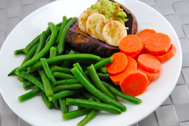 Green Beans, Carrots, Purple Sweet Potato