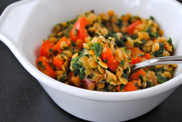 Lentils with Spinach & Veggies