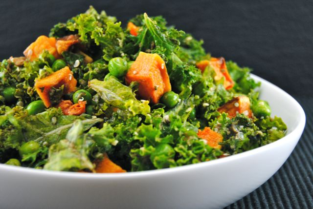 Massaged Kale Salad with B.Nutt Squash & Peas
