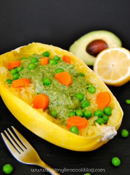 Spaghetti Squash with Creamy Avocado Sauce - www.kissmybroccoliblog.com