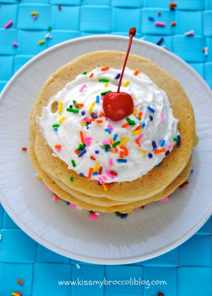 Birthday Cake Protein Pancakes - Have breakfast with a CHERRY on top! www.kissmybroccoliblog.com