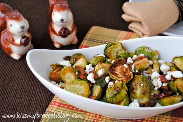 Bacon & Feta Brussels Sprouts - My family's new favorite holiday side! www.kissmybroccoliblog.com