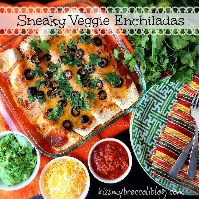 Sneaky Veggie Enchiladas - Celebrate Cinco de Mayo right by serving up some extra veggies...no one but you has to know! Recipe at www.kissmybroccoliblog.com